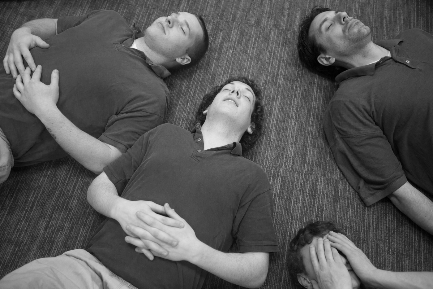 "CARA participants, from left to right, Shawn Peaslee, Steven Beaulieu, Dakota Sanford and Stephen Foley are lead through breathing exercises during a meditation class. ""If I hadn't come here I'd probably be in a crazy house or even dead,"" said Beaulieu. ""When I got arrested I had a box cutter in my pocket that I planned on using on myself. I was going to kill myself. This literally saved my life."""