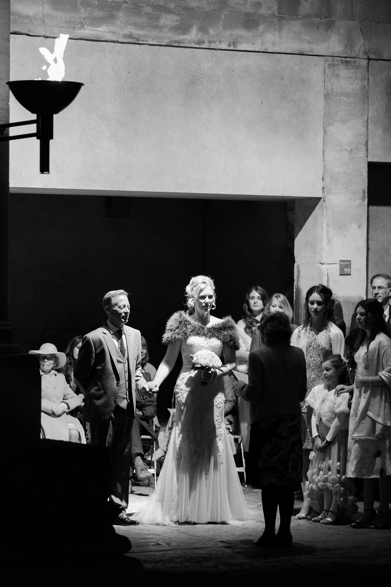Bride and groom at wedding ceremony in Bath