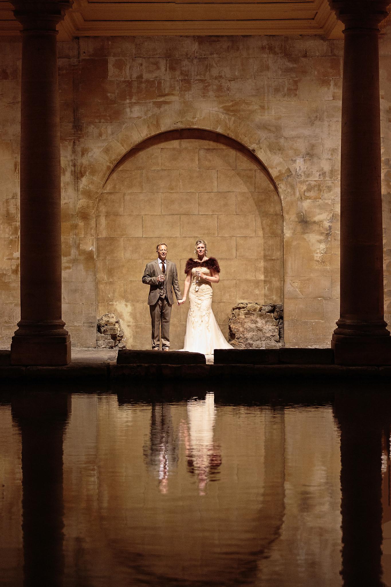 Wedding photography at the Roman Baths in Bath