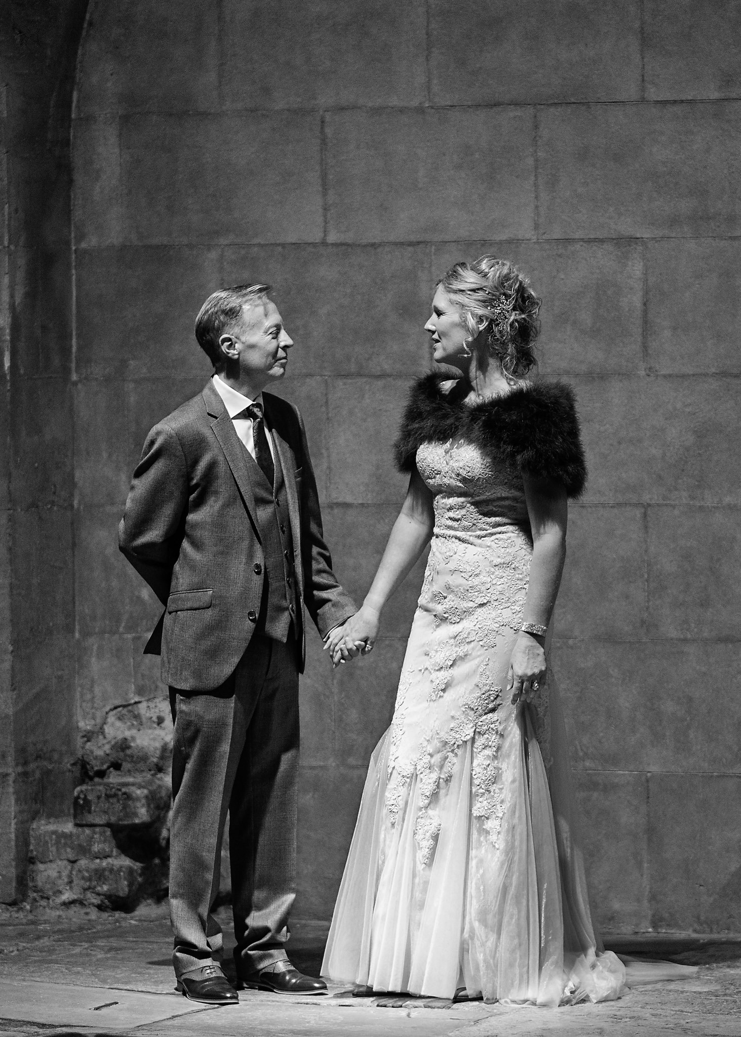 Bride and groom at the Roman Baths