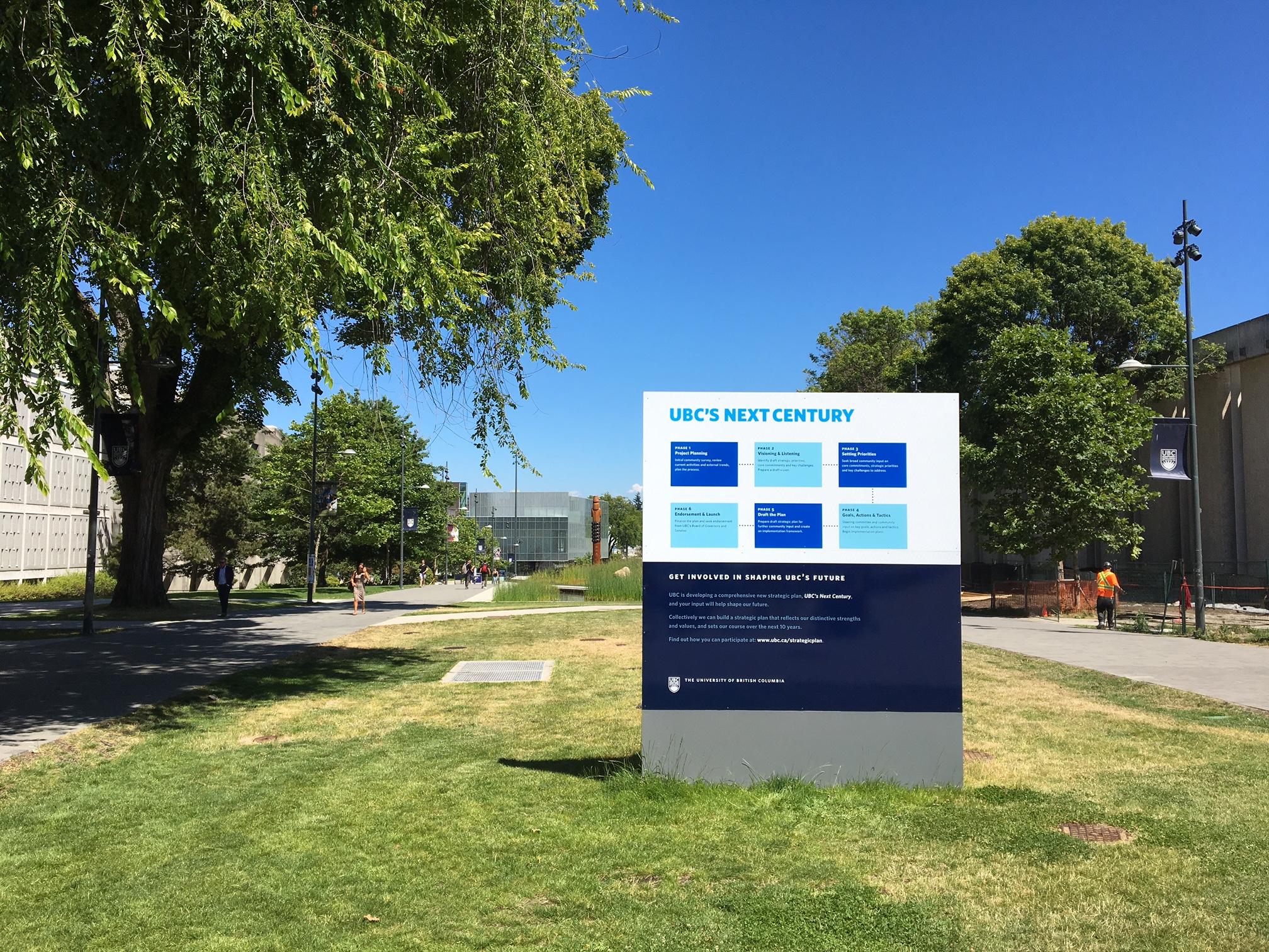 Signage for UBC's Next Century