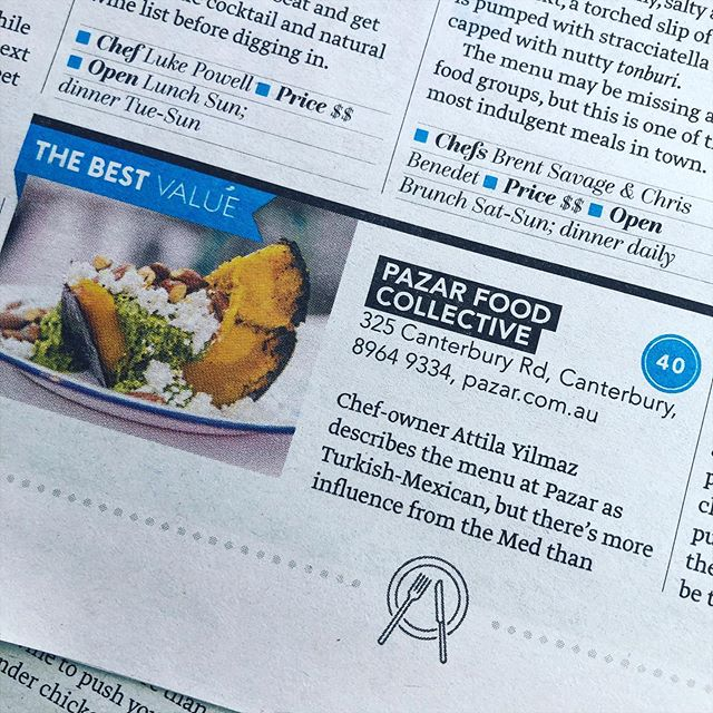 Proud to be #40 and Awarded 'BEST VALUE' in the @deliciousaus Top 100 restaurants. Thank you to @delciousaus , @dailytelegraph , @huckstergram and his team of reviewers for your kind words and consideration in this esteemed list. Thank you to the friends of PAZAR Food Collective and our working family for your continued support and efforts. . Get the full list in the Sunday Telegraph or online. . @sydneyeatstreet #bestvalue #delicious100 #pazarfoodcollective #sydneyrestaurants #innerwestsydney #innerwestrestaurant #canterbury