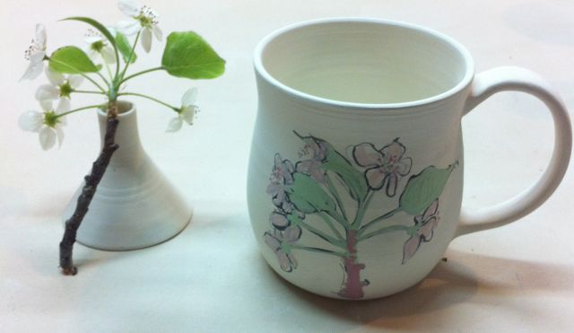 pear blossom sketch on small porcelain mug