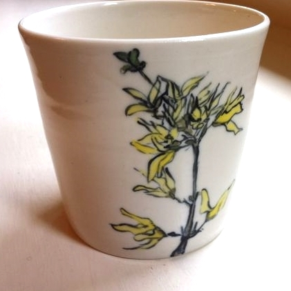 forsythia sketch handpainted on porcelain tumbler