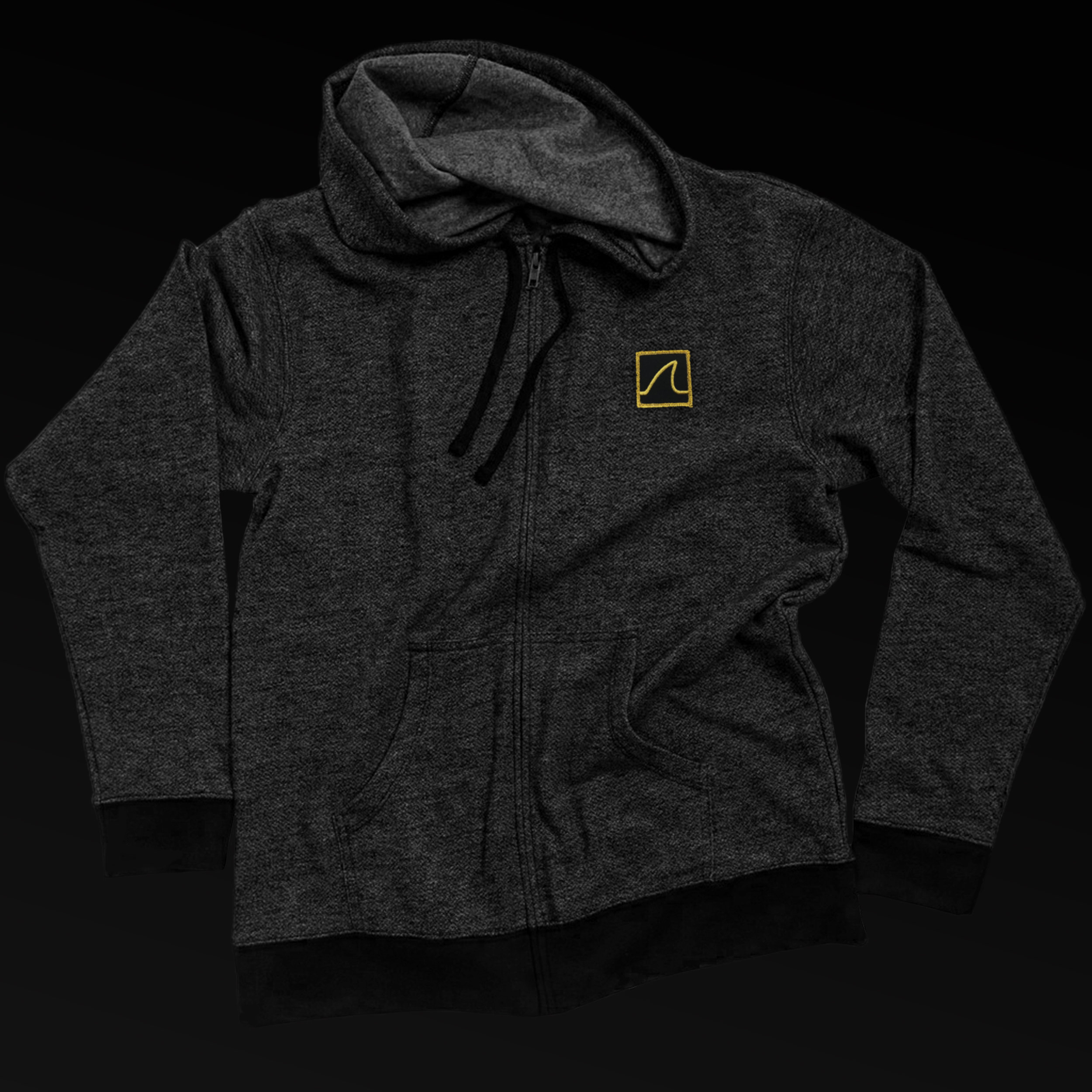 "Zip-Up ""Gold Fin"" Denim Hoodie"