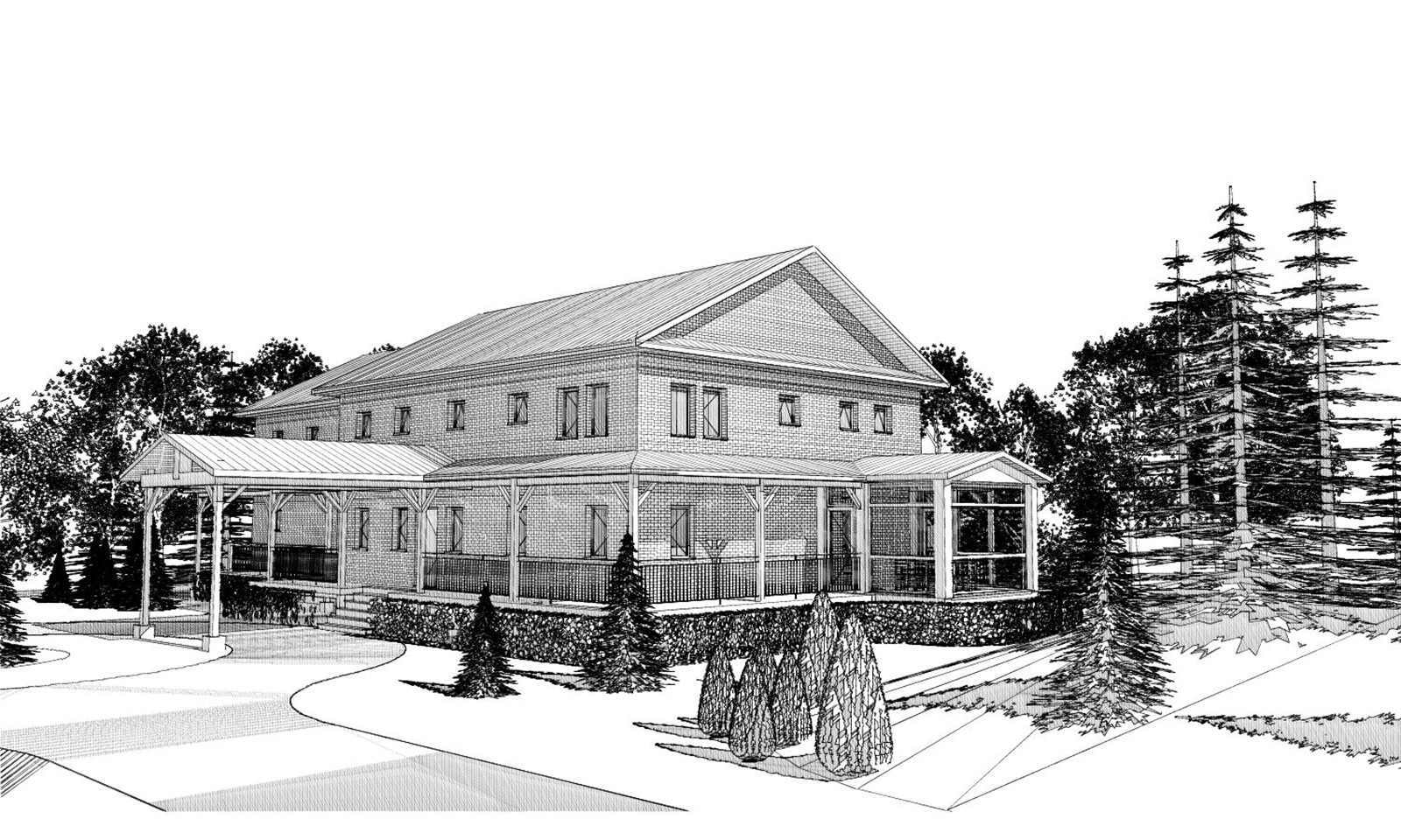 Exterior rendering of Casey and Natasha Grey's Passive House in Manotick