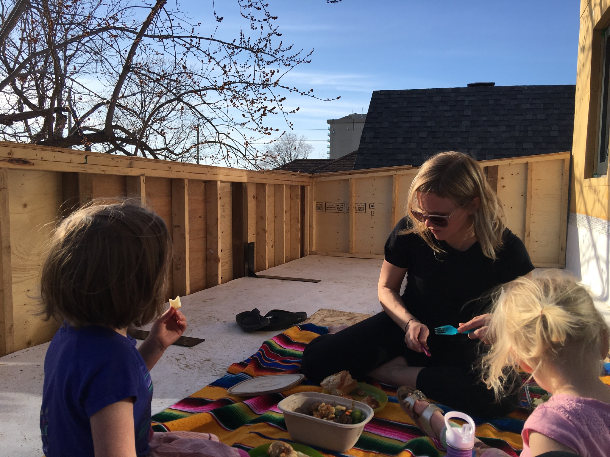 First family picnic on our rooftop patio. Shared it with some friendly pigeons who decided our new home was also their new home.