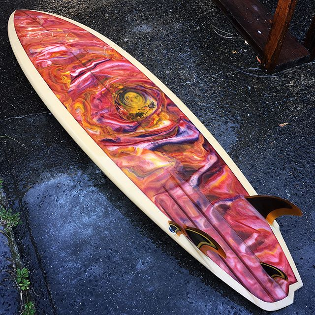 "Desert colours was the brief on this 6'4"" #asymmetric for Blair. The bottom shape is a vee bottom with 3 channels on the forehand with a soft diamond tail shape and a C-5 fin setup with a central trailer fin. If you're unfamiliar with the C-5 setup, it's essentially a thruster version of a twinzer, perfected by Rusty. On this one the canard (forward fin) is removable with a plug but the rest of the fins I made for this are glassed on as is my preference.  The backhand side is setup as a twin with that trailer fin and a swallow tail, with vee exiting out the tail.  I'm always inspired by Australian Aboriginal art and tried to capture some of that energy in the #acidsplash #resinart on the bottom with that desert theme.  Truly a one of a kind, this one!  #beautiful #handmade #custom #surfboard #twinfin #C-5 #style #desert #colour #resintint #premium #quality #craftsmanship #handcrafted #starttofinish #shape #glass #fins #real #artisan #made #handshaped #artist #bryanbates #byronbay"