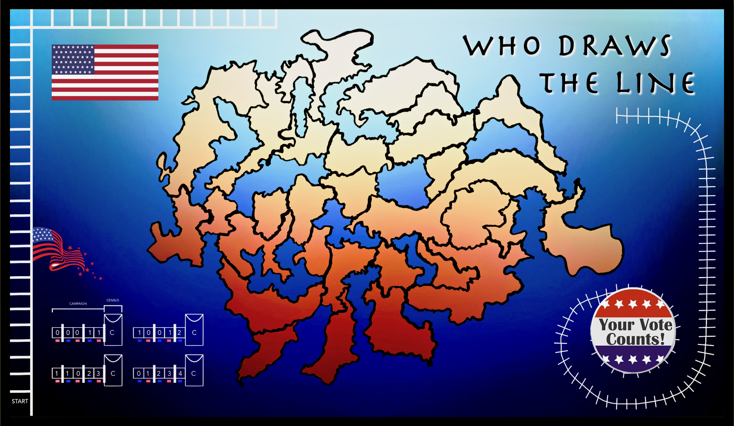 "Our first digital draft of the ""Who Draws The Line"" Gameboard. Stay tuned here to watch the game is it develops!"