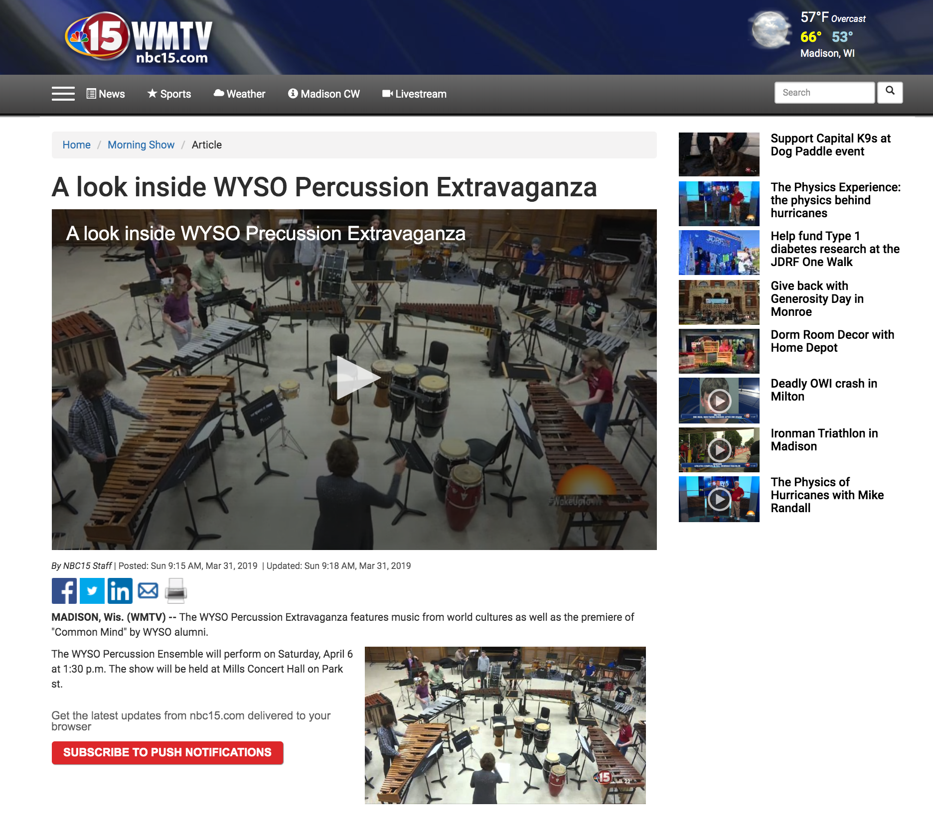View Original Article Online:  https://www.nbc15.com/content/news/A-look-inside-WYSO-Percussion-Extravaganza-507908531.html