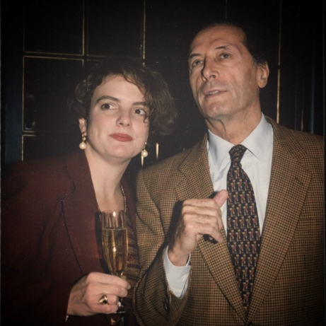 With Claude Taittinger in 1988 just before a writers' lunch at the Westbury Hotel, NYC