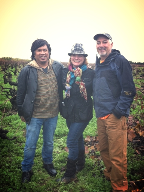 Standing in the Noma Ranch vineyard Zinfandel vines planted in the 1900s  L to R Randy Caparoso, journalist Kimberly Charles, Charles Communications Associates, Tim Holdener, Winemaker Macchia Wines