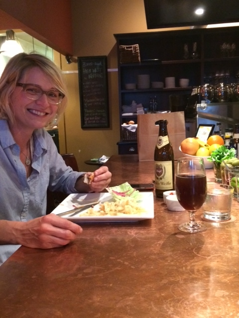 Spotted immediately post-WMC presentation.A millenial enjoying her meal over…a craft beer