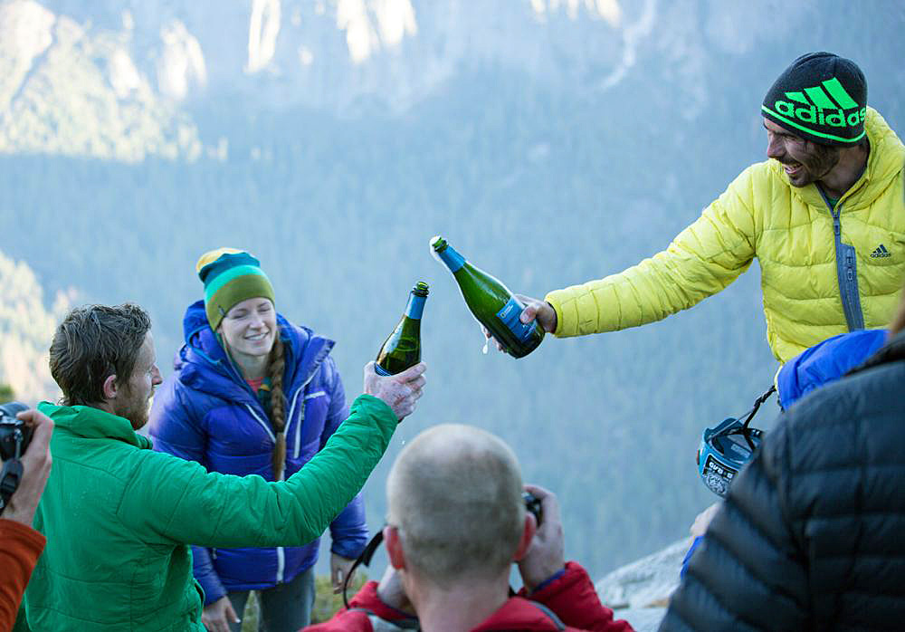 Caldwell & Jorgeson toast their record breaking ascent with Iron Horse Ocean Reserve Blanc de Blancs