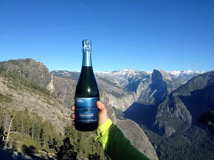 Bottle shot of the Iron Horse Ocean Reserve Blanc de Blancs at Dawn Wall El Capitan