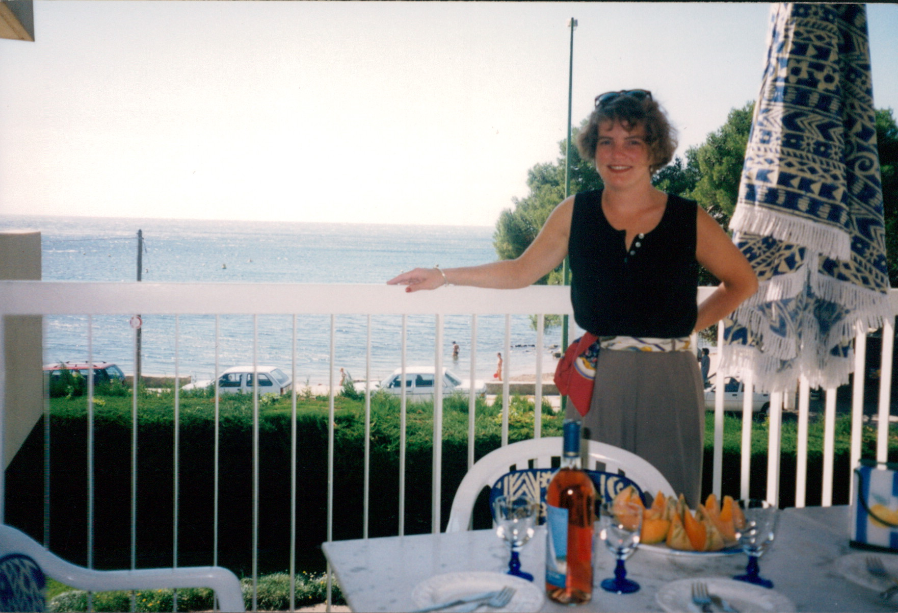 A beautiful summer day overlooking the plage at St. Raphael, France with melon and Cotes de Provence rose
