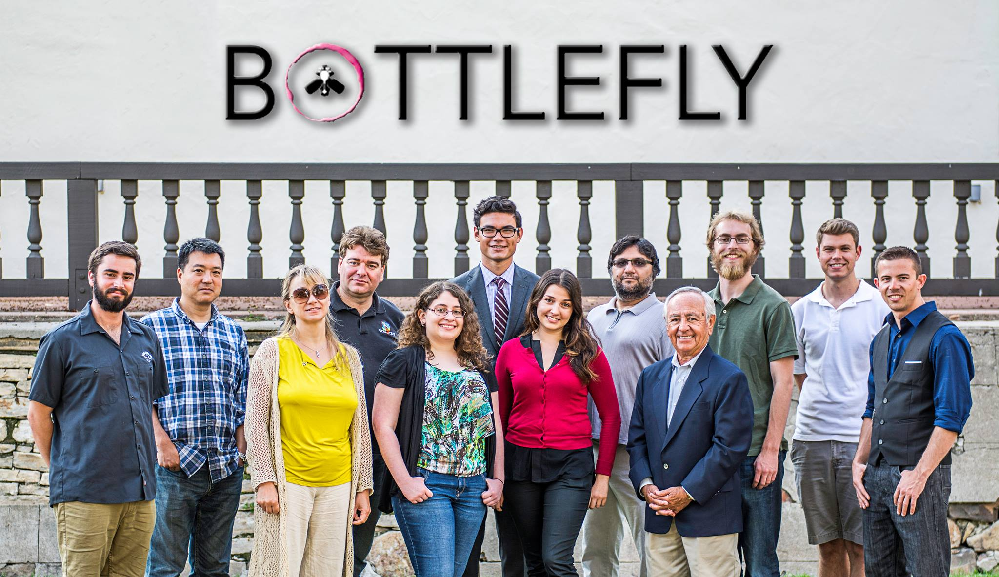 Bottlefly team (from left to right): Benjamin Aldrich, Toshi Kuboi, Olga Dekhtyar, Alex Dekhtyar, Nicole Martin, Evan Lanuza, Katerina Axelsson, Foaad Khosmood, Dennis Fernandez, Brian Jones, Eric Thorndyke, Timothy Scott.