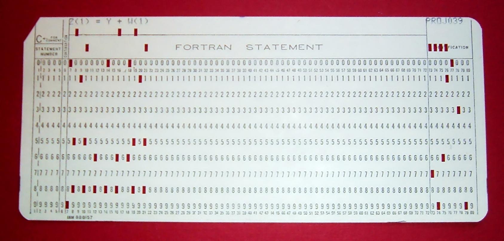 FORTRAN punch sheet
