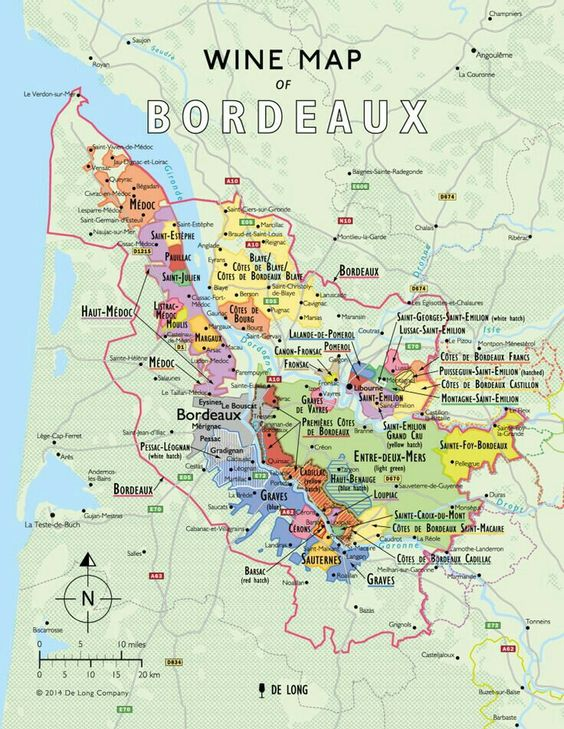 Map of Bordeaux wine growths. Image courtesy of De Long Wine.
