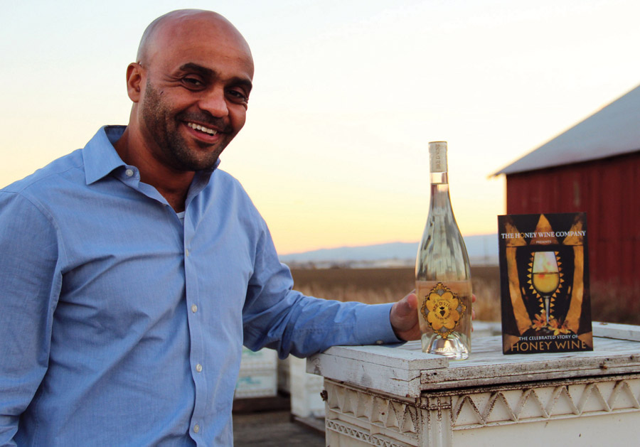 Ayele Solomon with his current Bee D'Vine wines. Photo courtesy of Molly Oleson.