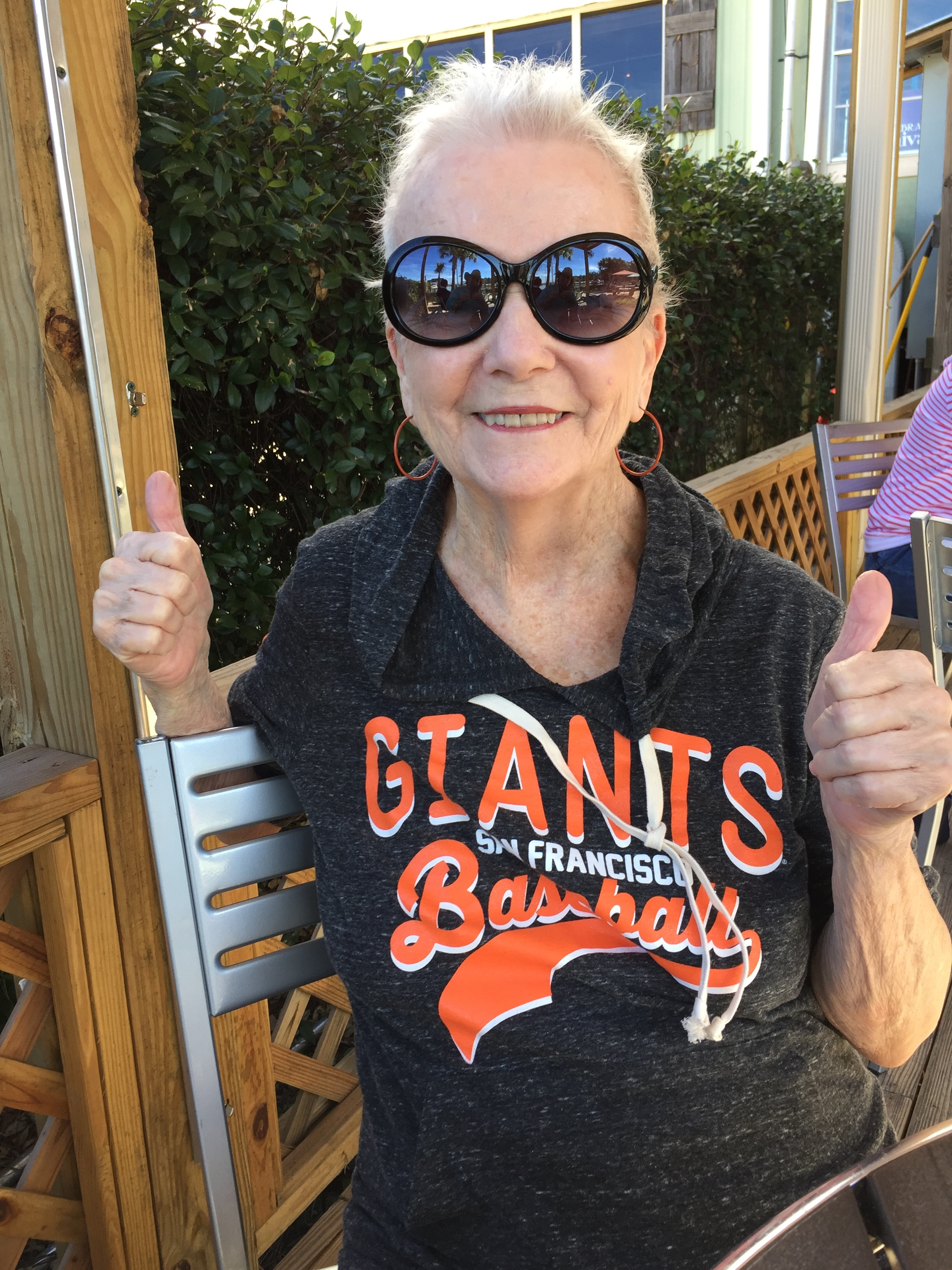 My mum, Janice Charles, a cancer survivor showing her World Champion spirit with my hometown team's sweatshirt