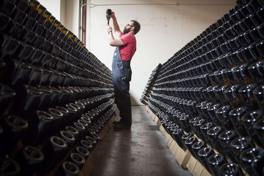 Michael Cruse in the cellar. Photo courtesy of The SF Chronicle.