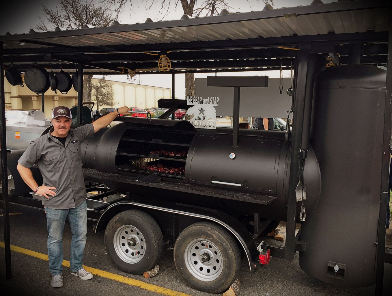 The Bear & Star's  smoker built by  Johnson Custom Smokers  in Ennis, Texas.