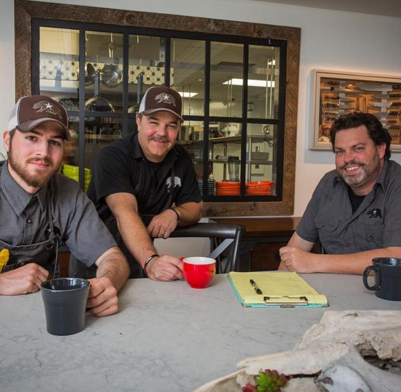 The Bear & Star  culinary team- from left to right: Trenton Shank (Sous Chef), Jeremy Tummel (Head Chef), John Cox (Chef Partner)