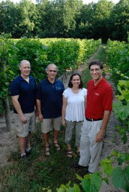 Pictured Cornell Researchers:Dr. Bruce Reisch (grape genetics),Dr. Justine Van de Heuvel (viticulture),Dr. Alan Lakso (viticulture0 &Chris Owens (grape genetics)
