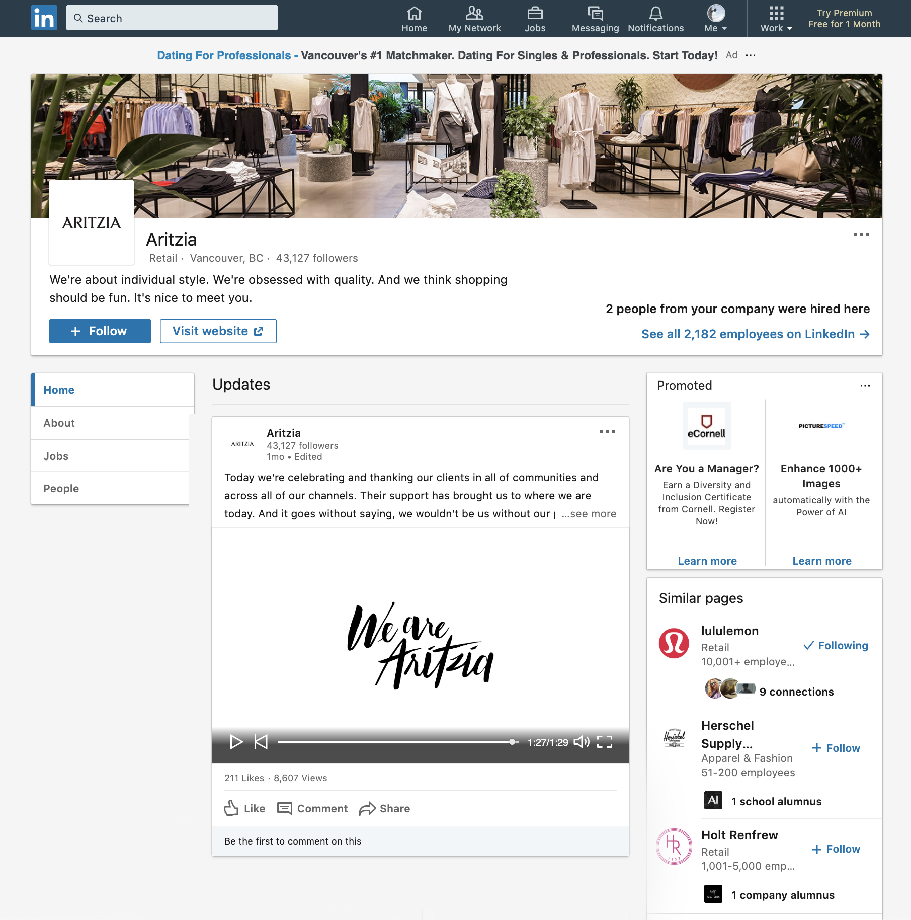 2019 International Women's Day Video made for Aritzia's Linkedin page