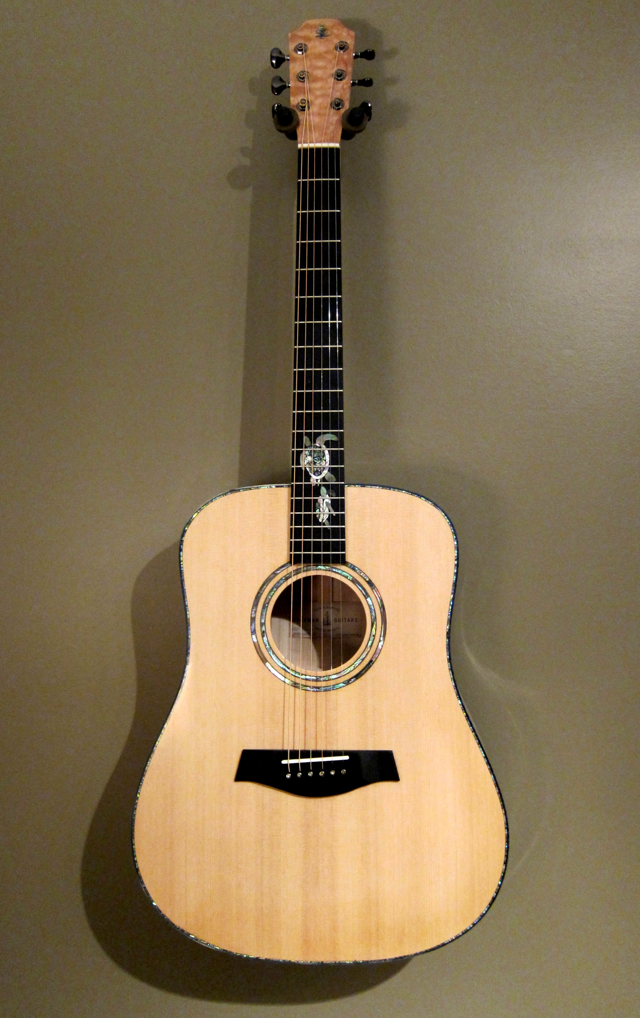 """Custom MB-3  (Dreadnought) SOLD   Myrtlewood back & sides Port Orford Cedar top Dyed green Maple binding Adirondack Spruce bracing Flamed Maple neck Ebony fretboard Bone nut & saddle Double Abalone rosette Custom Sea Turtle inlay 25.4"""" scale Gotoh® 510 tuners Lacquer finish"""