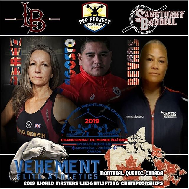 Masters World Championships are set to begin tomorrow! This year our @vehement.elite.athletics family is sending three athletes to represent three different nations!  Susie Perez @fiftypluslifter from @longbeachweightlifting representing Great Britain will start us off on Monday, Aug. 19  Leanda Keahi-Bevans @cfaloha from @sanctuarybarbell representing the USA will take the platform on Tuesday, Aug. 20 in an attempt to defend her 2019 World Championship!  Richard 'Pep' Agosto @jerker_pep @pepprojectweightlifting representing the Philippines takes the platform on Saturday Aug. 24.  The full event will be streamed live on YouTube! We will post the link as soon as it is available! Big thanks to @coach.toph for the awesome artwork!  Three Nations. One Team. We Are Vehement!  #wearevehement #sanctuarybarbell #pepprojectweightlifting #mastersworlds #mastersathlete #montreal #usa #greatbritain #philippines #weightlifting