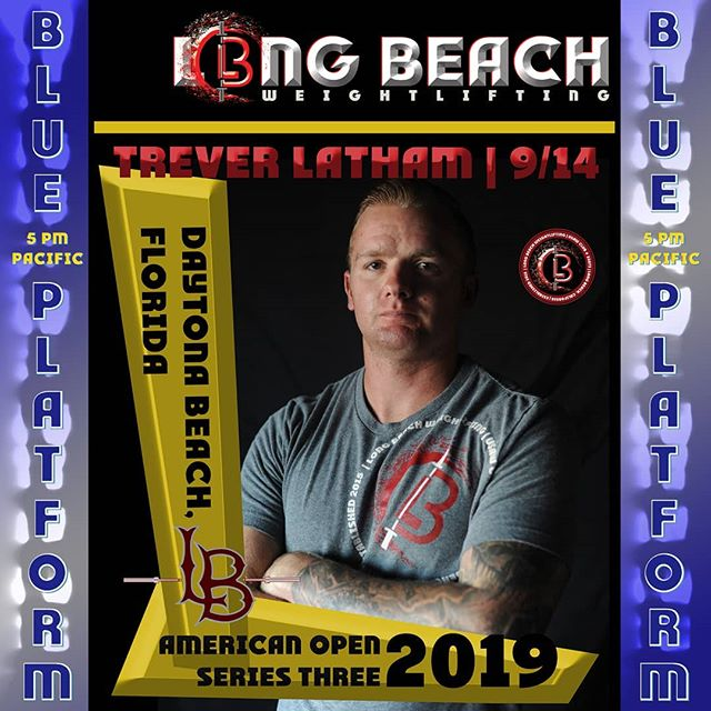 @revtrev2522 will lift at 5pm Pacific time on Saturday, the 14th!  BLUE PLATFORM  LIVE STREAM LINK IN OUR BIO  @oceancenter #AO3 #AO3Daytona @usa_weightlifting @southernpacificlwc @longbeachweightlifting @vehement.elite.athletics  #19AO3