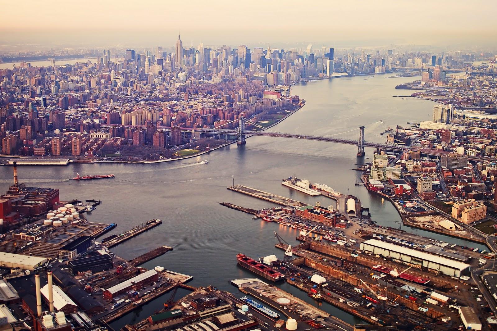 Brooklyn Navy Yard looking north to Manhattan