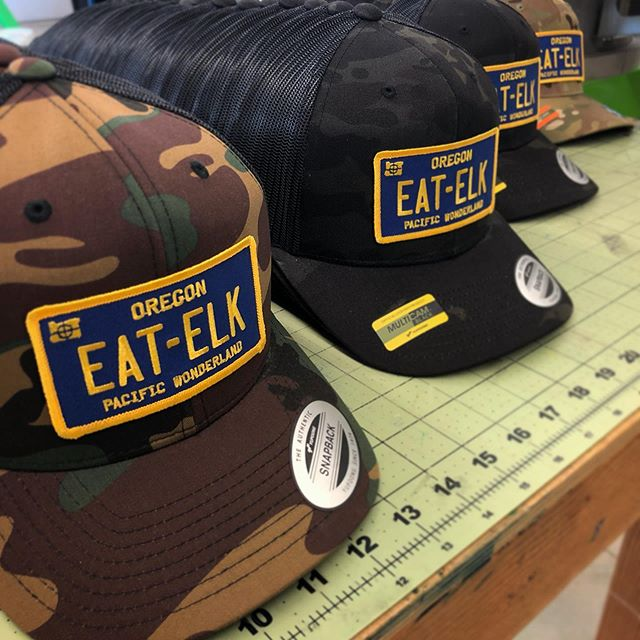 Printing these really fun hats for @eatelk101 today. Hit this guy up if you want to get one of these for your dome! #customhats #custompatches #embroidery #eatelk