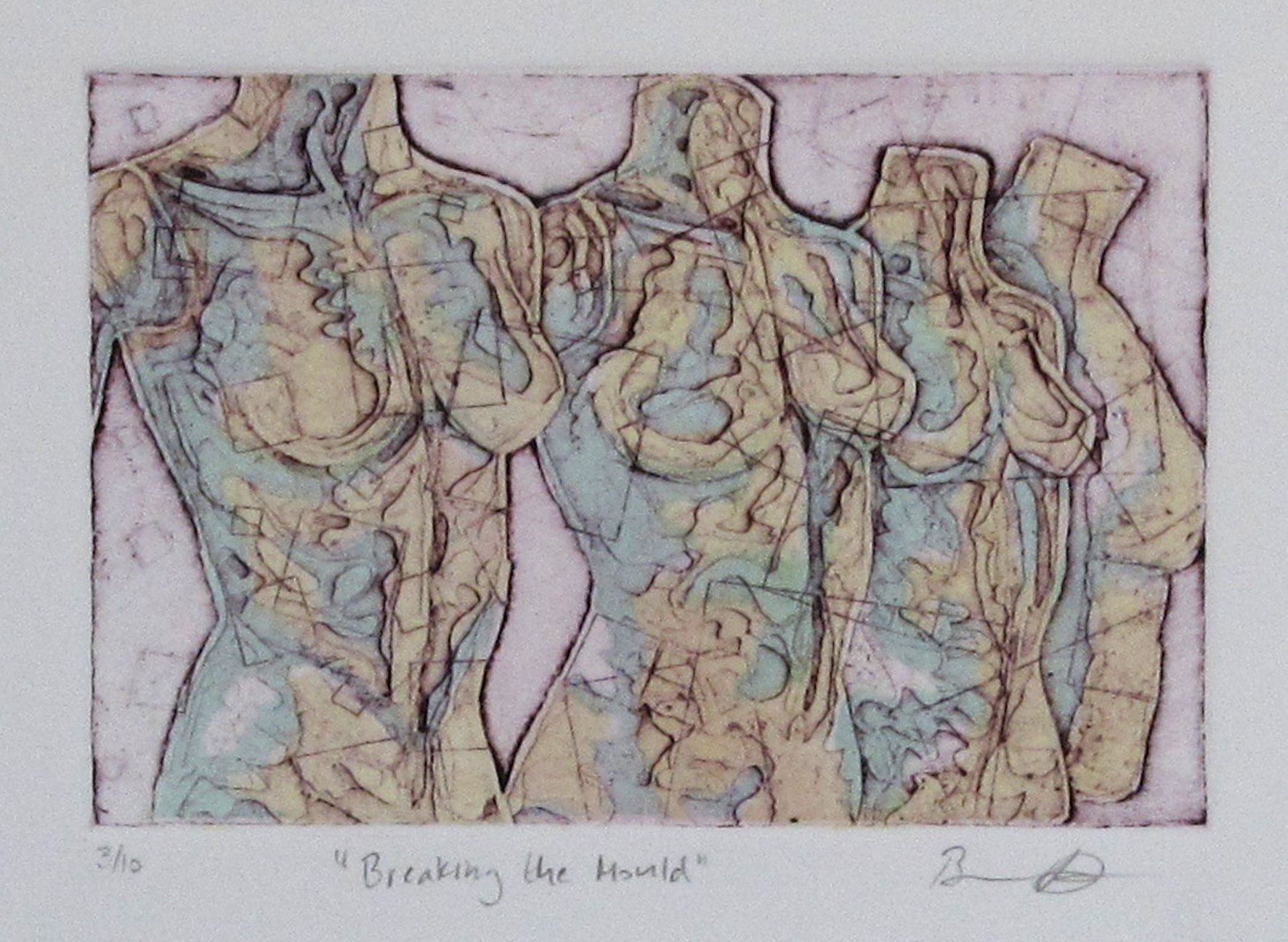 "Breaking the Mould    - 2013, ink on paper, 4x6"" image, etching and open bite"