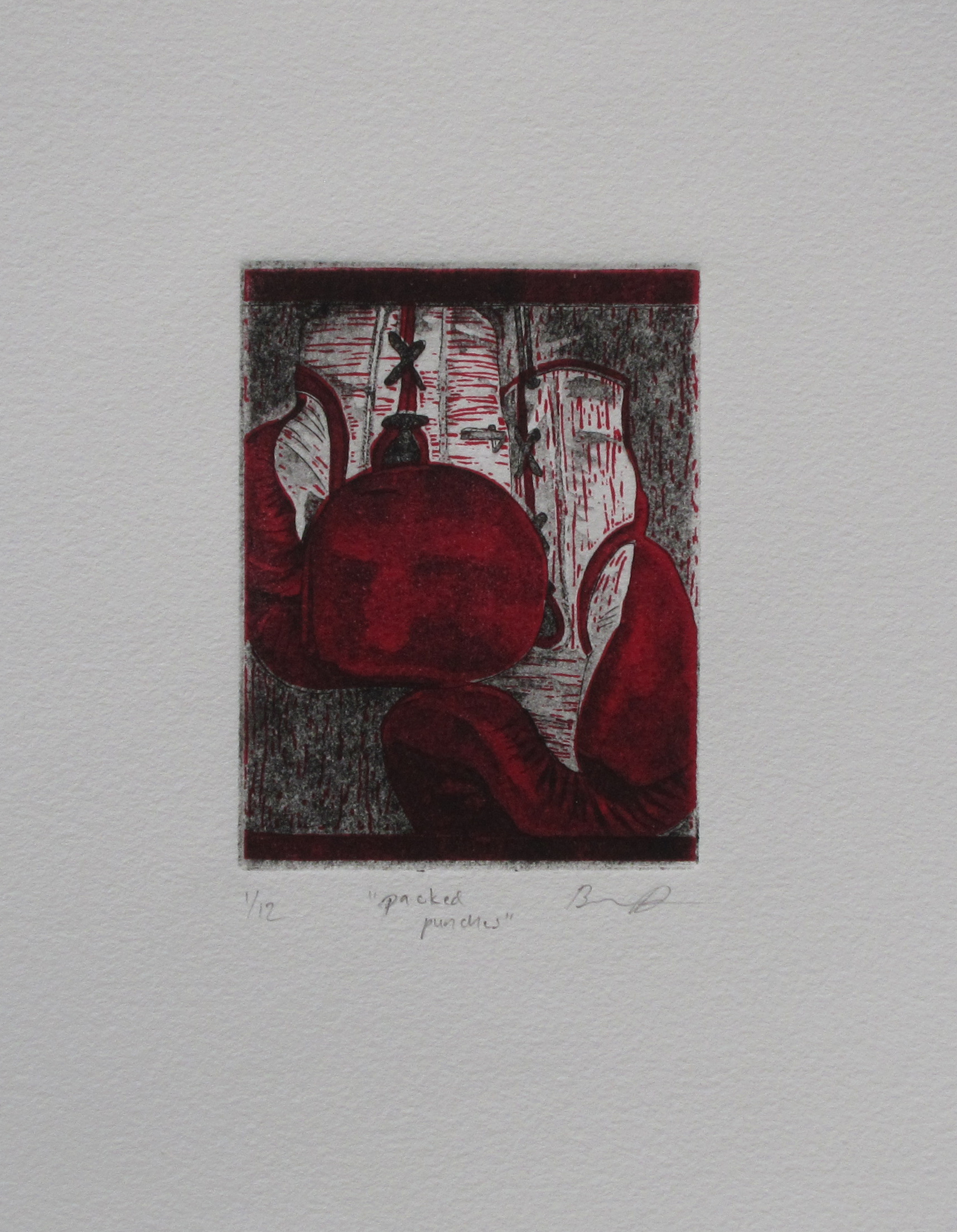 "Packed Punches    - ink on paper, 3x4"" image, etching, aquatint and linocut"