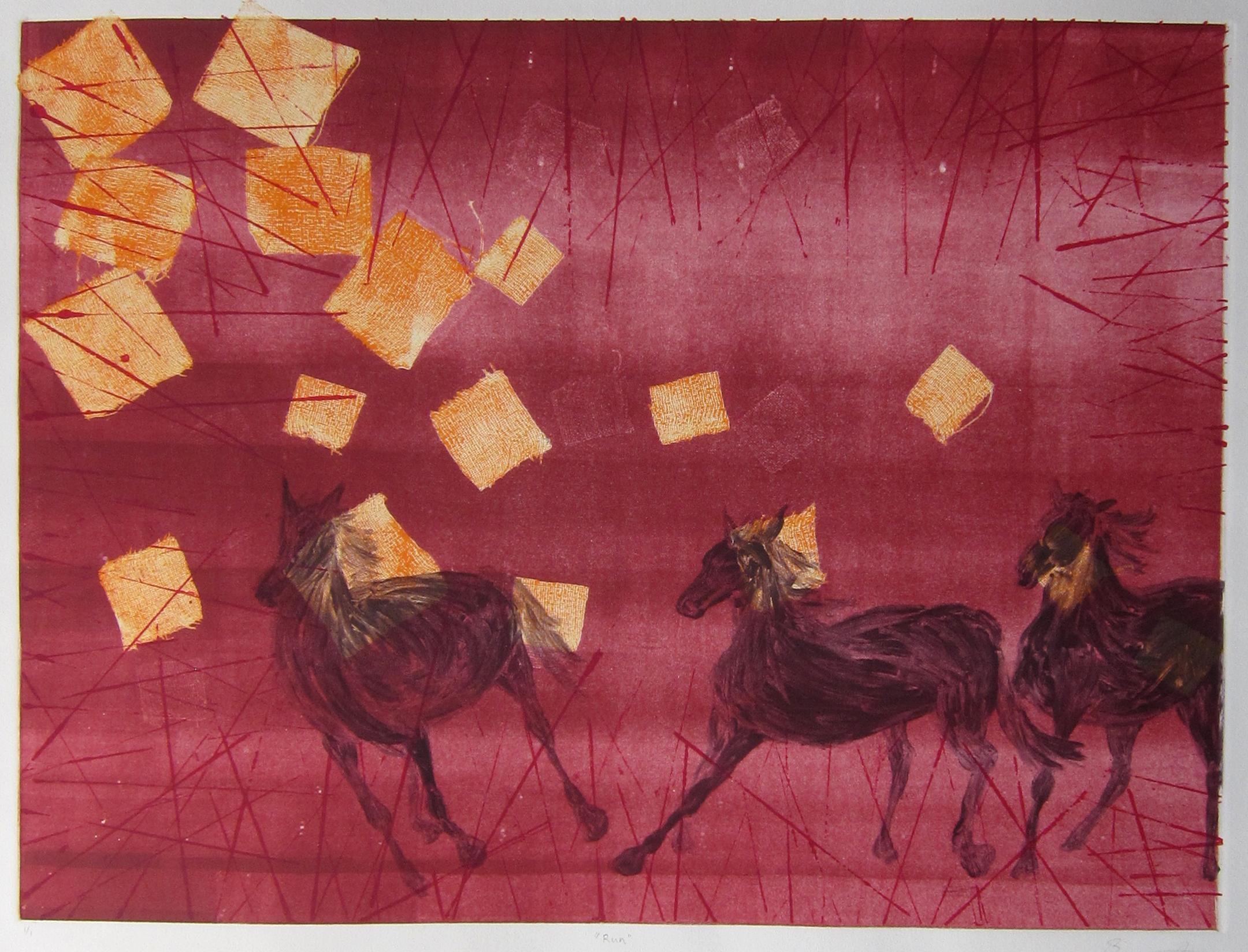 """Wild Horses   - 2011, ink on paper, 18x24"""" image, monotype"""