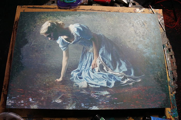 """adding paint and texture to my piece """"Nocturne"""""""