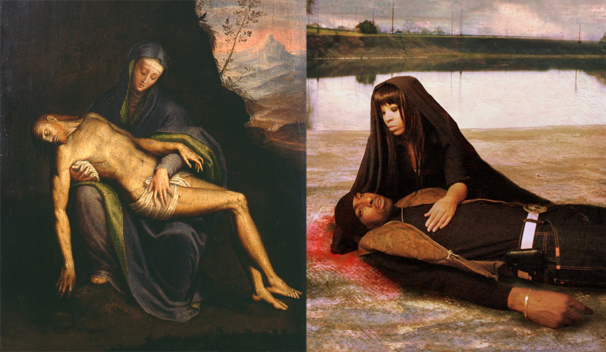 "left -"" Pietà"" by Sofonisba Anguissola , right - ""Pieta in Gangland"" by Thomas Dodd"