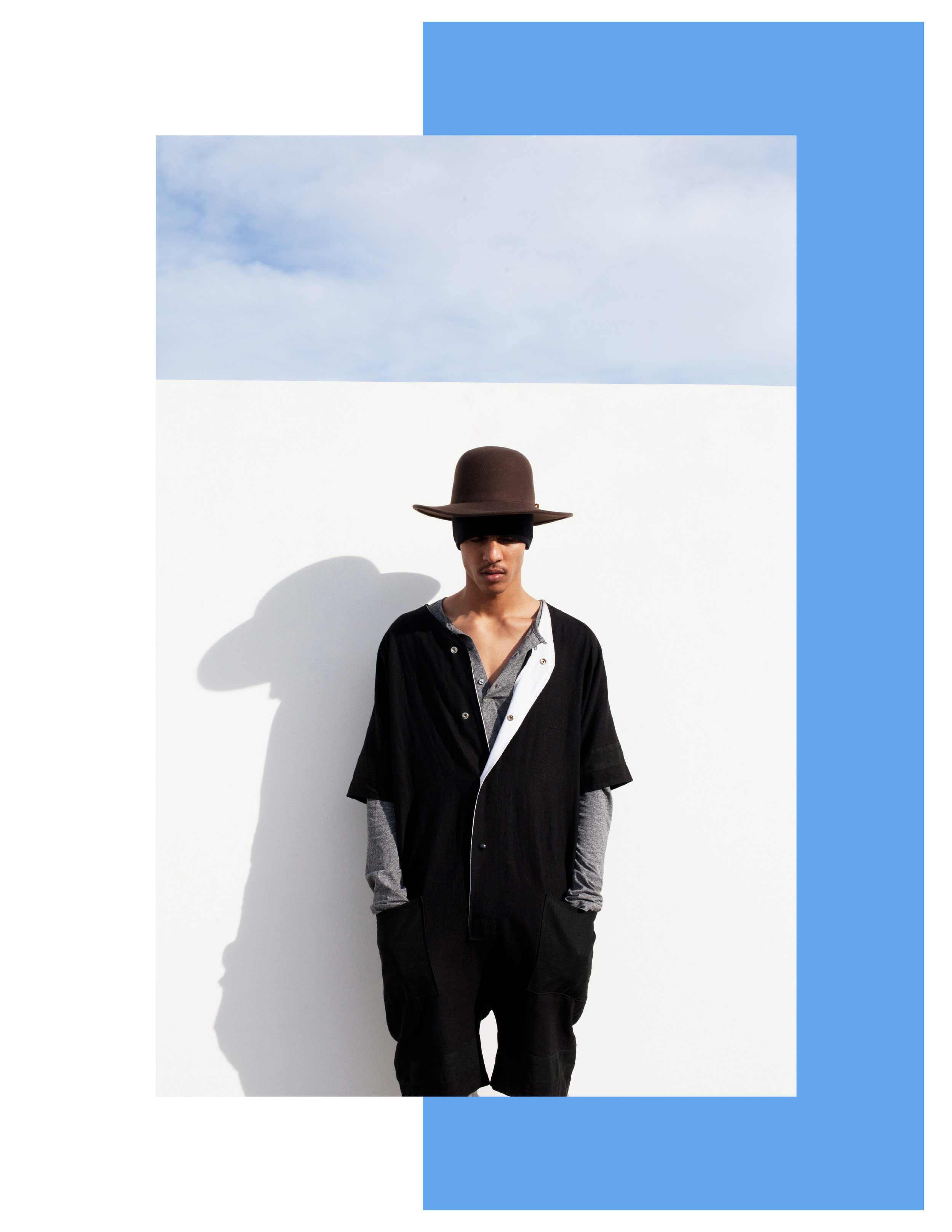 """""""Out The Blu"""" Geron McKinley for The Fashionisto by Tyler Adams styled by Charlie Brianna  (LINEN BASEBALL ONESIE)"""