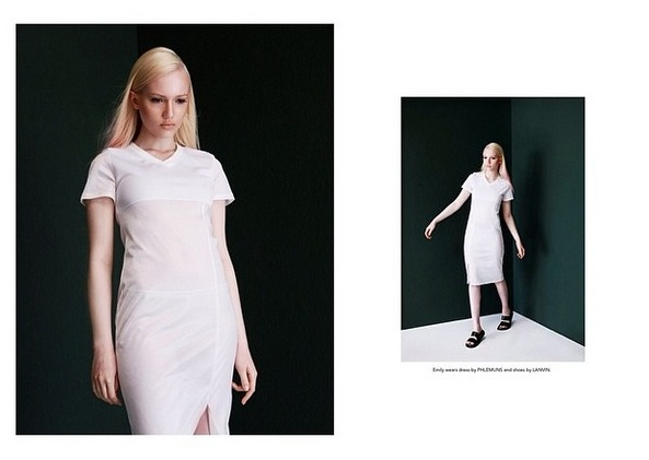 Emily Ruhl shot by Tyler Adams & styled by Charlie Brianna (FRONT SLIT FOOTBALL JERSEY DRESS)