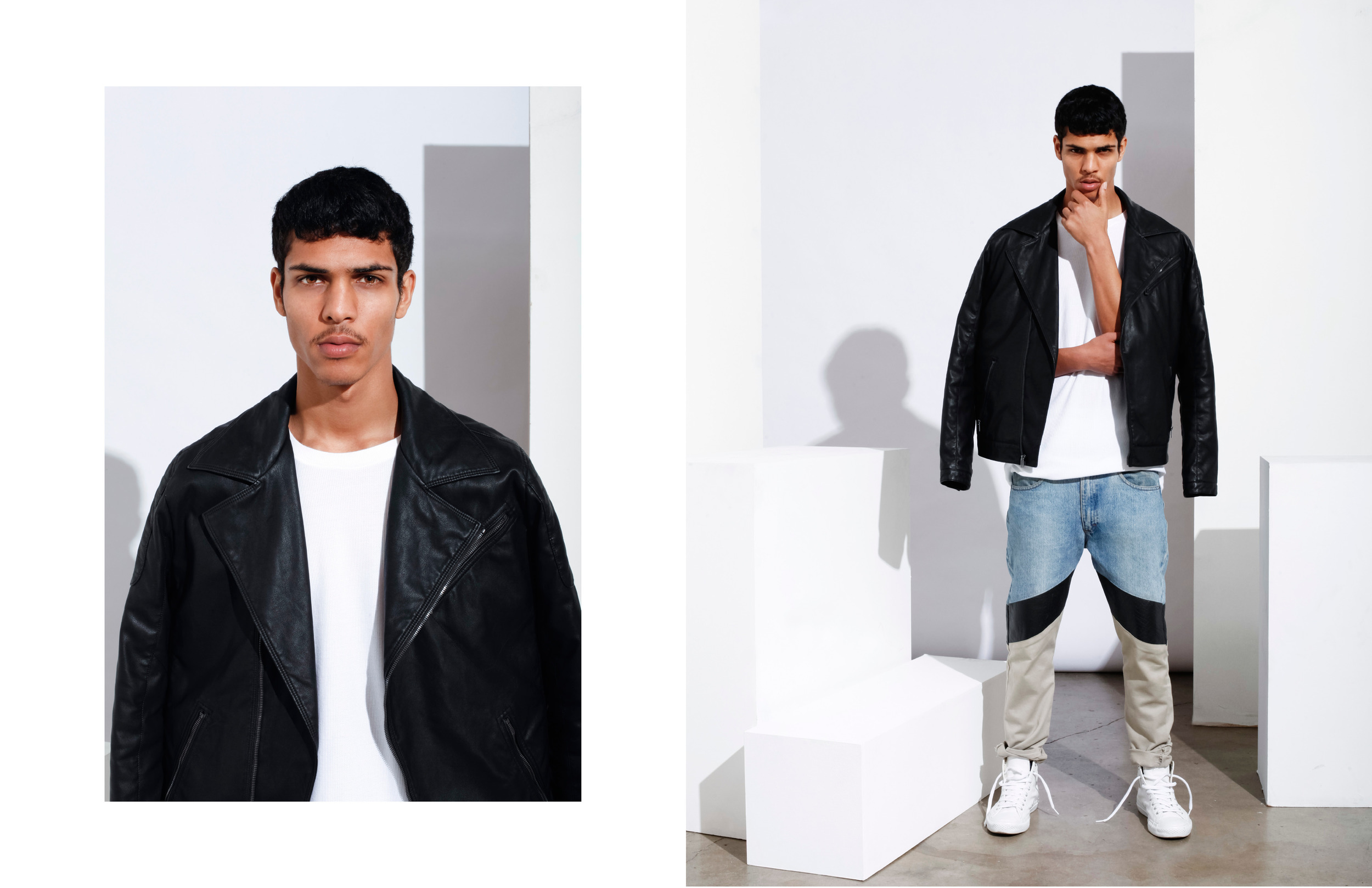 Geron McKinley for The Fashionisto by Tyler Adams styled by Charlie Brianna  (LEATHER & KHAKI JEANS)