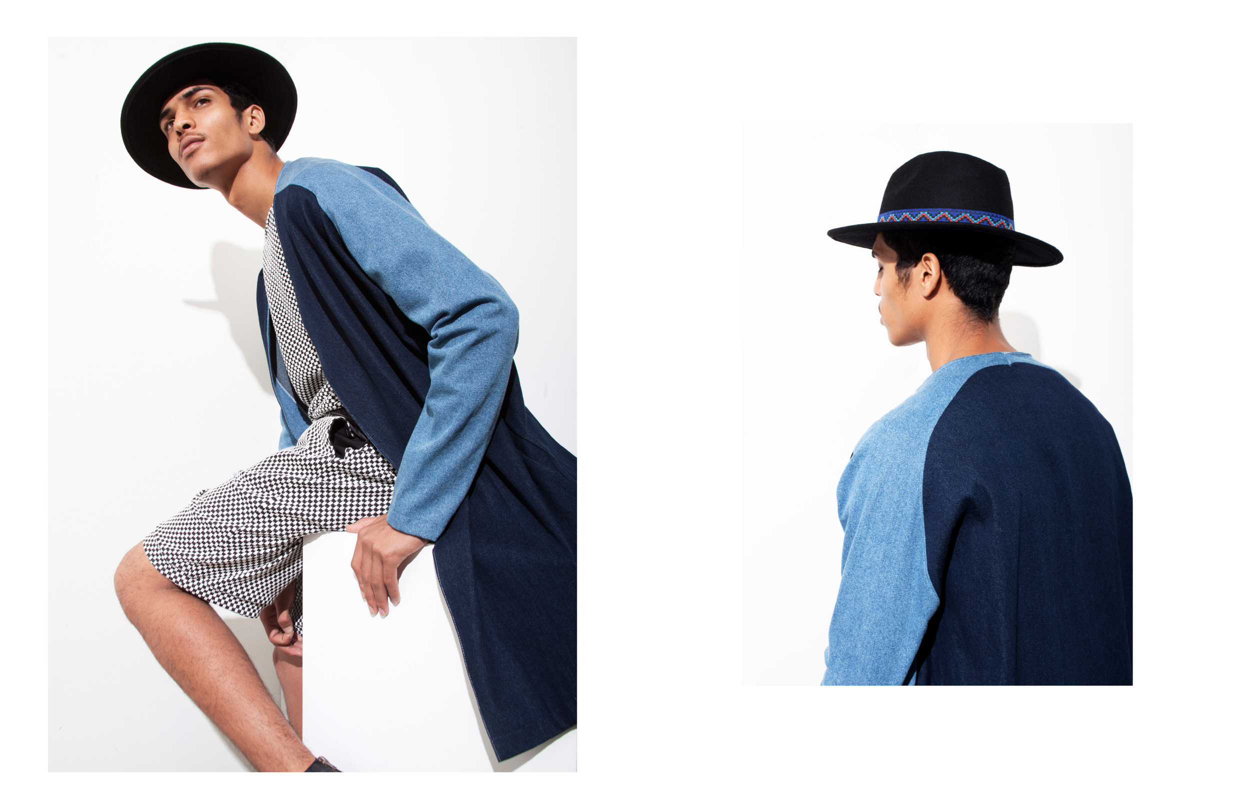 """""""Out The Blu"""" Geron McKinley for The Fashionisto by Tyler Adams styled by Charlie Brianna  (2-TONE DENIM COAT & KNIT 2-PIECE)"""