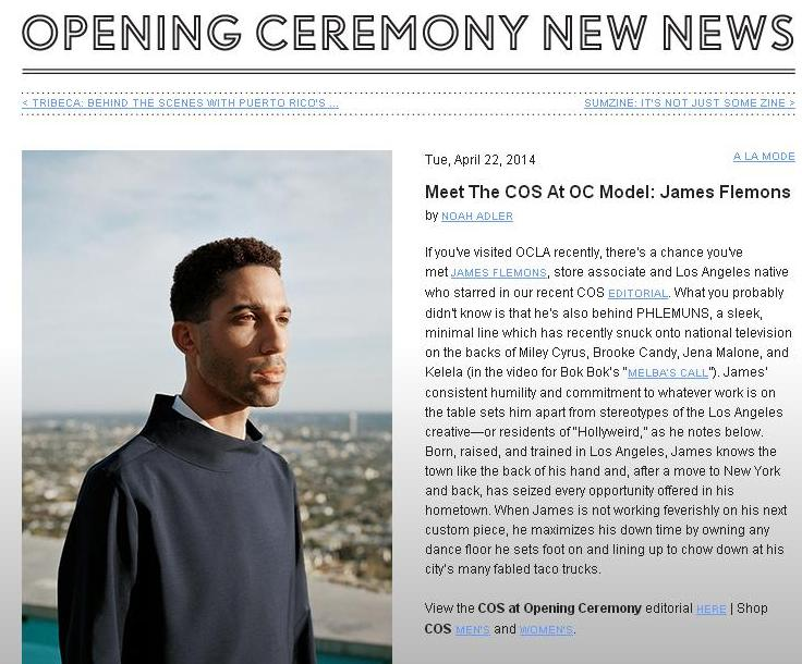Brief interview on Opening Ceremony's Blog.