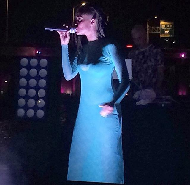 Kelela in a series of custom mesh dresses for her European Tour