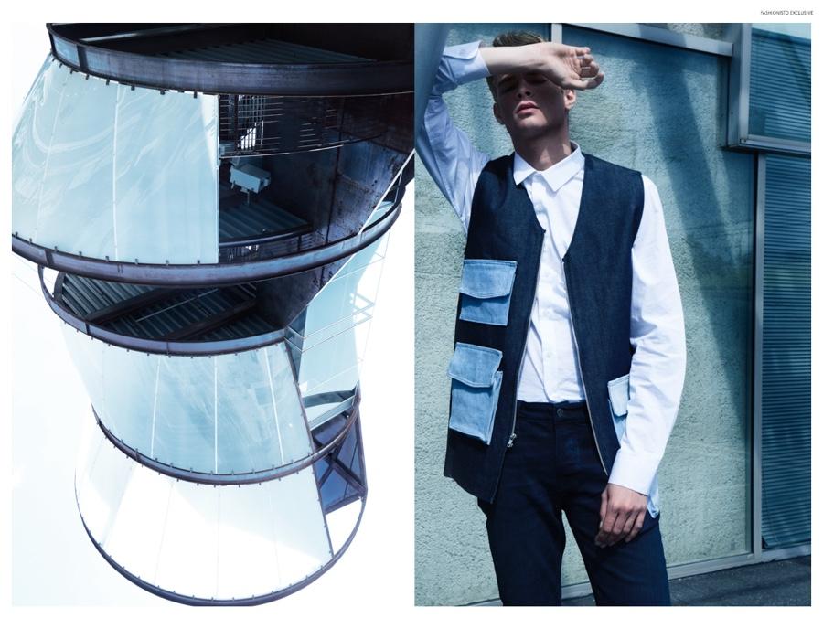 "Fashionisto Exclusive:  Frederik Tolke +    Sam Gostnell in ""Arena"" shot by Zach Fernandez & styled by Matthew Hensley   (DENIM CARGO VEST)"