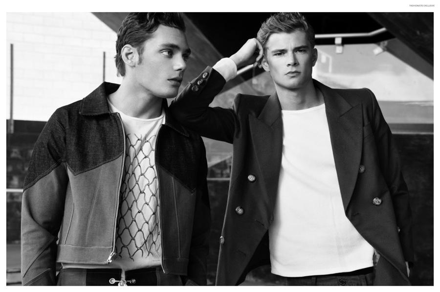 "Fashionisto Exclusive:Frederik Tolke +Sam Gostnell in ""Arena"" shot by Zach Fernandez & styled by Matthew Hensley   (DENIM COMBO JACKET &THERMAL SHIRT)"