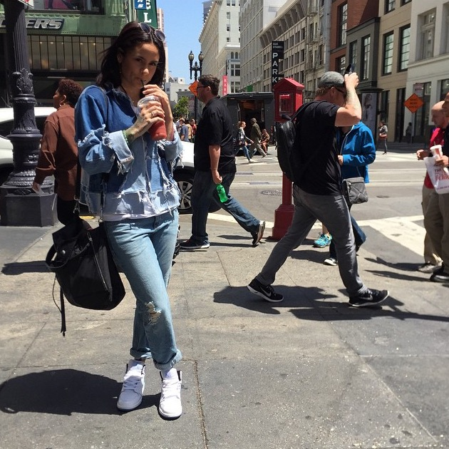 Kehlani in the streets of San Francisco.  (RECYCLED DENIM JACKET)