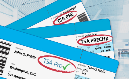 TSA Pre-Check written on boarding pass signals that you may enter through the expedited lanes.